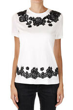 DOLCE&GABBANA New Woman White T-shirt Tee Lace Cotton Made in Italy NWT