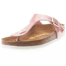 Birkenstock Gizeh Birko-flor Shiny Snake Womens Sandals Rose New Shoes
