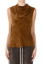 RICK OWENS Women Chenille Brown BONNIE BLOUSE Made in Italy New with Tag