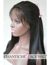 Indian Remy Human Hair Lace Front Wigs Black Women Yaki Straight Full Lace Wig