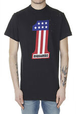 DSQUARED2 Dsquared² Men New Black Cotton Printed Holed T-Shirt Tee Made in Italy