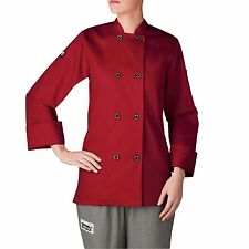 Chefwear 4420-78 Women's Long Sleeve Plastic Button Chef Jacket, Red XS-5XL