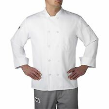 Chefwear 4410-40 Three Star Long Sleeve Plastic Button Chef Jacket, White XS-5XL