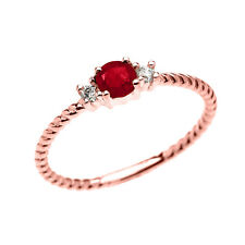 10k Rose Gold Dainty Solitaire Ruby & White Topaz Rope Promise Stackable Ring