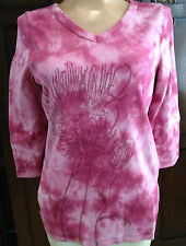 Royal Robbins Art-to-Wear Hippie Boho Knit Cotton Top Blush 3/4  62705 NWT  L