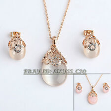 Fashion Simulated Opal Earrings & Necklace Jewelry Set 18KGP Crystal Rhinestone