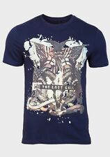 MENS T SHIRT  NEW LOOK  PRINTED- NEW - 100% COTTON - XS, S, M, L - NAVY