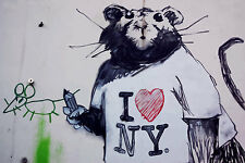 Stretched I Love NY Rat Canvas Print By Banksy Graffiti Street Art *Assorted*
