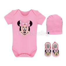 Newborn Infant Baby Girl Minnie Mouse Clothing 3PCS Romper Hat Set Outfits Shoes