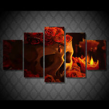 Framed Picture Skull and Rose Flower Painting Wall Art Canvas home Decor Photo