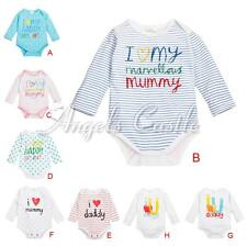 Baby Girl Boys I Love Mom Dad Long Sleeve Toddler Infant Bodysuit Romper Clothes