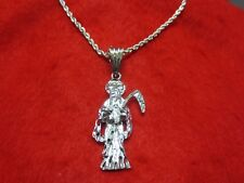 "14 KT WHITE GOLD PLATED (2 1/4"")  SANTA MUERTE CHARM & 2.5 MM  ROPE CHAIN -A82"