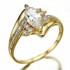 18K Gold Filled Size 6,7,8,9,10 Oval Cut White Sapphire Women Wedding Rings Gift