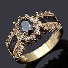 Womans Mens Fashion Rings Size 6,7,8,9,10,11,12 Black Sapphire 18K Gold Filled