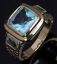 Size 8,9,10,11,12 Fashion Square Aquamarine 18K Gold Filled Men's Amazing Rings