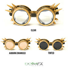 GloFX Brass Spike Diffraction Goggles Hard Coated Brass Polymer Rave Party Clubs
