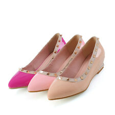 Synthetic Patent Leather Rivet Wedge Low Heel Pointed Women's Shoes AU Size s528