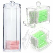 Cosmetic Makeup Case Clear Q-tip Storage Holder Cotton Pad Swab Box Organizer GE