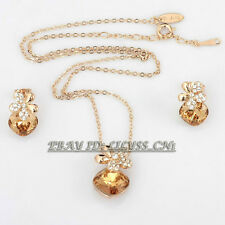 B1-S3011 Fashion CZ Simulated Topaz Earrings Necklace Jewelry Set 18KGP Crystal