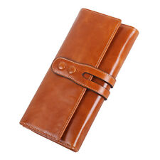 Women Oil Wax Genuine Leather Long Trifold Wallet Card Holder Case Checkbook Bag