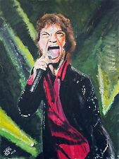 Mick Jagger 'Rolling Stones' Acrylic Painting on Canvas