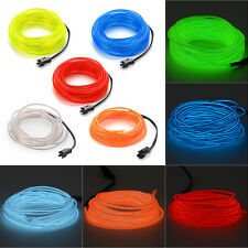 3M/4M/5M Flexible Neon Light Glow EL Wire Cable String Strip+ Battery Controller