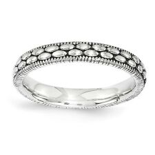 Sterling Silver Stackable Expressions Antiqued Patterned Ring (3.5mm)