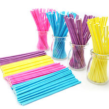 100x 10cm Paper Lollipop Lolly Candy Pop Sucker Sticks Chocolate Cake Cookie JR