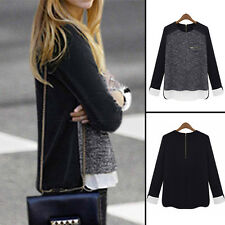 Fashion Womens Ladies Casual Long Sleeve Patchwork Tops Blouse Work OL T-Shirts