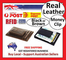 RFID Mens Womens Wallet Security Full Grain Cow Leather Money Clip BLACK BROWN 4