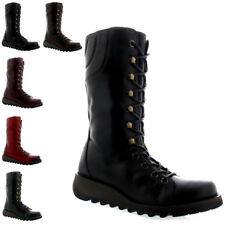 Womens Fly London Ster Lace Up Fashion Casual Leather Mid Calf Boots US 5-12