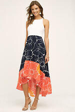 NIP NEW $168 Anthropologie Hutch Coral Hi-Lo Floral Dress S M L XL Navyhight-low