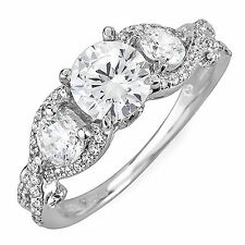 3 Stone Diamond 2.98 Carat Round Shape EGL VS1 Engagement Ring Antique Style