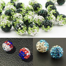 10mm Polymer Clay Rhinestone Shamballa Disco Crystal Ball Bracelet Beads DIY Hot