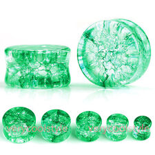 Pair Green Quartz Stone Ear Double Flared Tunnel Plugs Stretcher Gauges Piercing