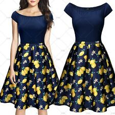 Women Vintage Prints One Shoulder Cocktail Evening Party Casual Pleated Dresses