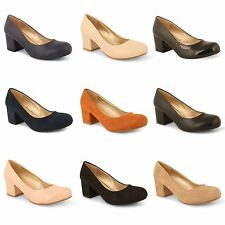 Womens Ladies Mid Block Heel Evening Work Party Pumps Office Court Shoes Size