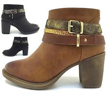 Ladies Womens Faux Leather Platform Sole Block Heel Chelsea Ankle Boots Shoes