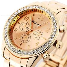 Lady Bling Crystal Silver Stainless Steel Geneva Analog Quartz Wrist Watch Women