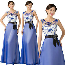 New Long Wedding Applique Evening Dress Prom Cocktail Party Formal Blue Gown