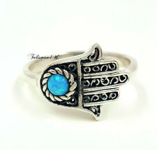 Sterling Silver HAMSA RING Blue Opal Evil Eye Protection Lucky Kabbalah Jewelry