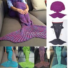 Mermaid Blanket Crocheted Knitted Mermaid Tail Blanket Super Soft Warm Cocoon