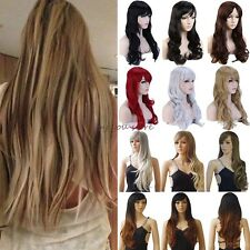 Women Wig Long Curly Straight Full Hair Wigs Cosplay Party Fancy Dress UK Stock