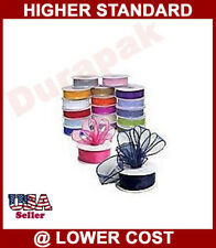 7/8 IN 25YD Sheer Organza Ribbon All Colors:Red+Gold+