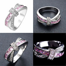 Pink Sapphire CZ Cross Wedding Ring Women/Men's 10KT White Gold Filled Size 6-10