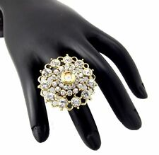 Fashion jewellery clear white CZ gold plated adjustable finger Ring R230122