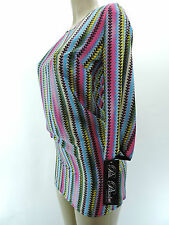 NEW PINK POLKADOT 248 Sharise Neil Multi Color Zig Zag Stripe Shirt Dress XS L