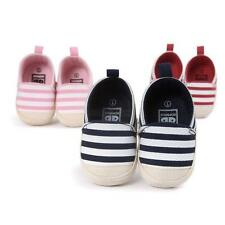 Toddlers Baby Boy Girls Striped Canvas Crib Walking Shoes Anti-Slip Casual Shoes