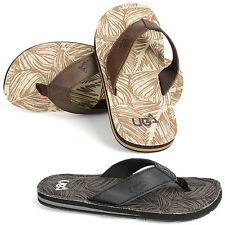 Urban Beach Mens Colorado Leather Flip Flop Sandals Beach Shoes, Brown or Grey