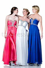 Long Prom Dresses Strapless Sweetheart Chiffon Ruched Bodice Formal Evening Gown